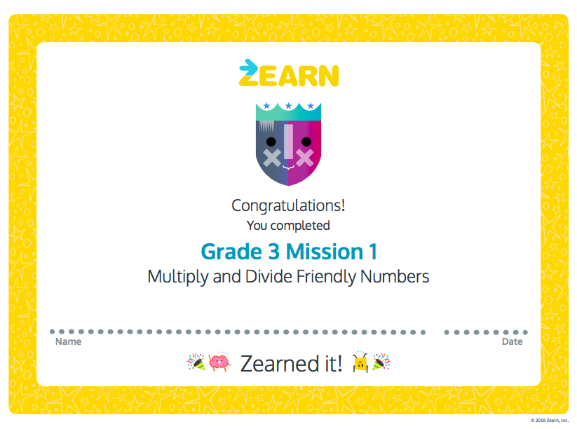 Mission Completion Certificates - Zearn Support